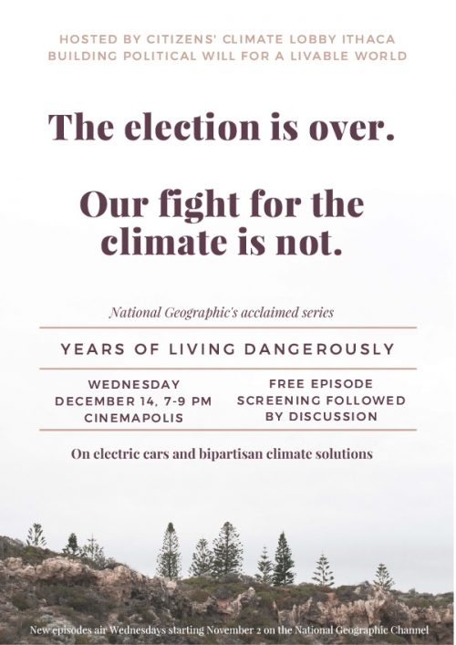 Citizens' Climate Lobby presents Years of Living Dangerously
